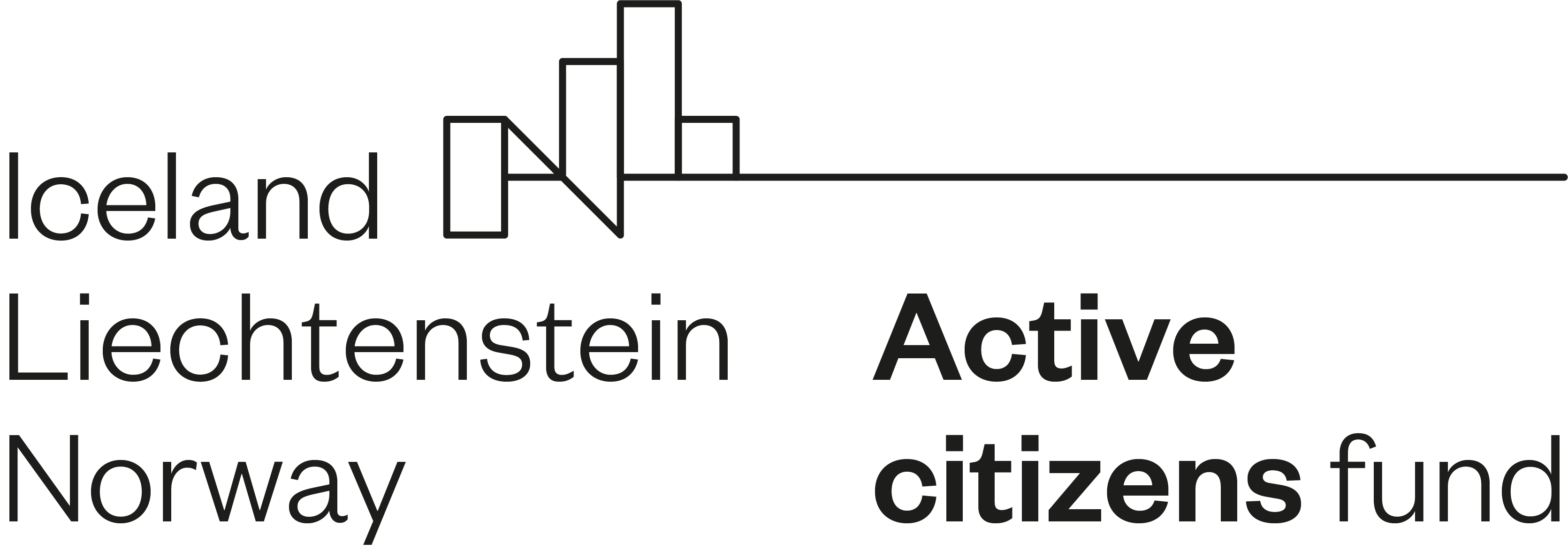 Logo Active Citizens Fund. Napis: Iceland, Liechtenstein, Norway. Active citizens fund.