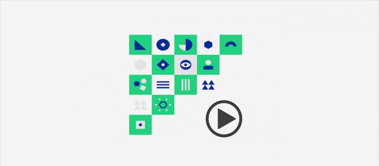 Grafka: kwadraty z geometrycznymi symbolami. Obok znak przycisku play.