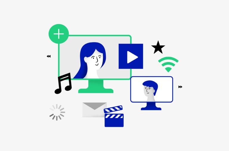 """Rysunek przedstawiający dwa ekrany komputera. Na jednym twarz kobiety, na drugim twarz mężczyzny. Wokół symbole związane z nagraniami: nutki, klaps filmowy, symbol """"play"""" i inne."""