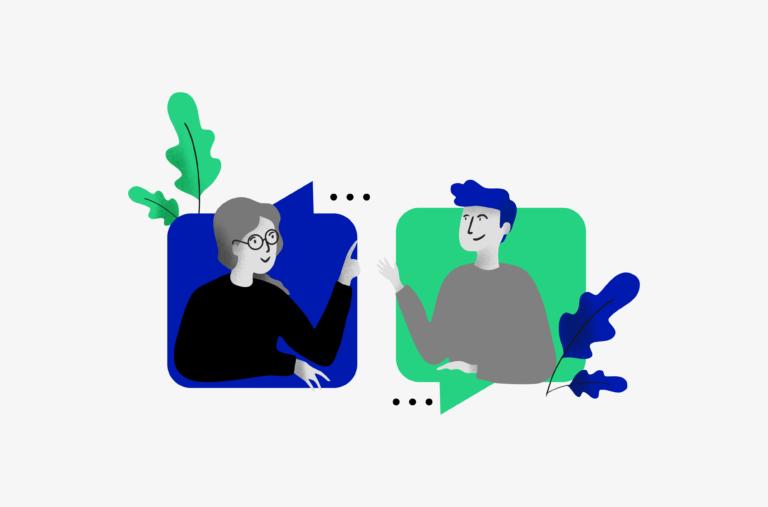 Rysunek przedstawiający kobietę z siwymi włosami i w okularach oraz młodego mężczyznę rozmawiających ze sobą. Obie postaci wychylają się z dymków dialogowych.